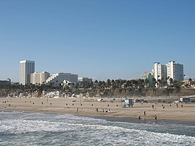 Santa Monica Beach seen from the pier.JPG