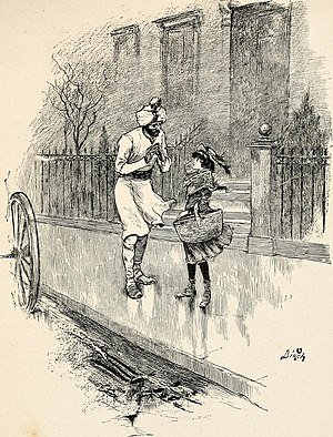 "A Little Princess - ""He was waiting for his master to come out to the carriage, and Sara stopped and spoke a few words to him"": Illustration from Sara Crewe; or, What Happened at Miss Minchin's (1888)"