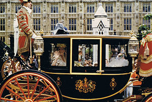 Wedding of Prince Andrew, Duke of York, and Sarah Ferguson - Sarah Ferguson in the Glass coach before the wedding