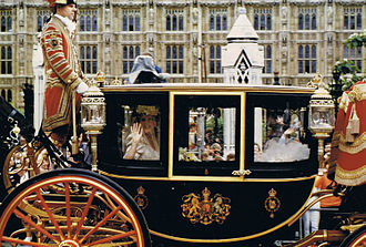 Wedding of Prince Andrew and Sarah Ferguson - Sarah Ferguson in the Glass coach before the wedding