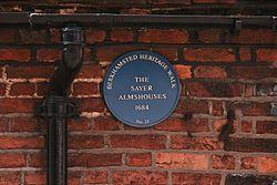 Sayer almshouses blue plaque