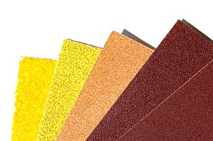 Sandpaper - Sheets of sandpaper with different grit sizes (40 (coarse), 80, 150, 240, 600 (fine)).
