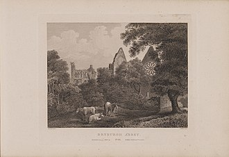 Dryburgh Abbey - Engraving of Dryburgh Abbey by James Fittler in Scotia Depicta