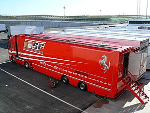 English: The Scuderia Ferrari's transporter