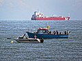 Sea angling boats and container ship off Broadstairs, Kent, England 2.jpg