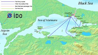 İDO - A map of the Sea of Marmara showing the routes operated by the İDO
