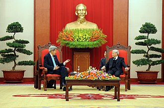 Communist Party of Vietnam - General Secretary Nguyễn Phú Trọng with United States Secretary of State John Kerry in Hanoi, 2013