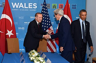 NATO - Turkish Presient Recep Tayyip Erdoğan with U.S. President Barack Obama and Secretary of State John Kerry during the NATO Summit in Newport, 5 September 2014