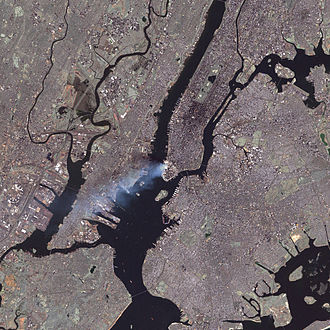 September 11 attacks - The aftermath of the World Trade Center attacks, as seen from space by the Landsat 7 satellite