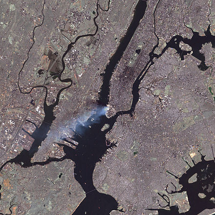 The aftermath of the World Trade Center attacks, as seen from space by the Landsat 7 satellite September 11 attack seen from space by nasa.jpg