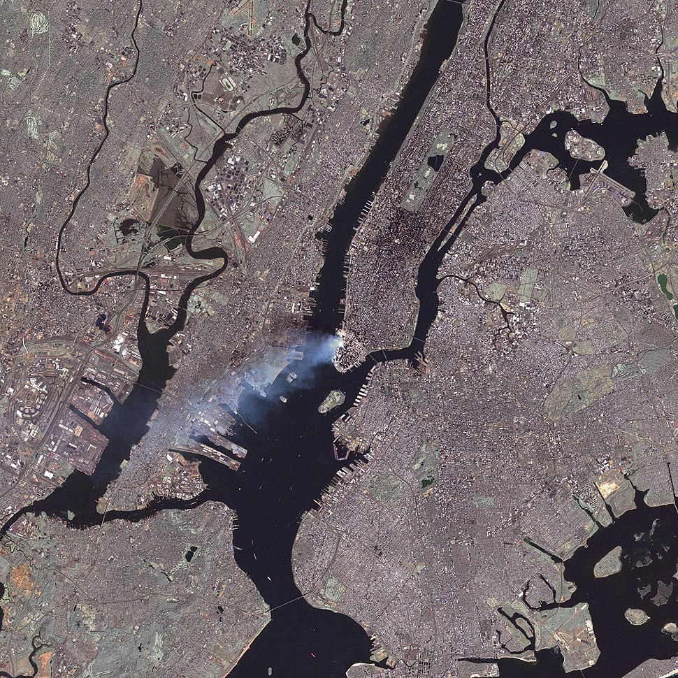 September 11 attack seen from space by nasa