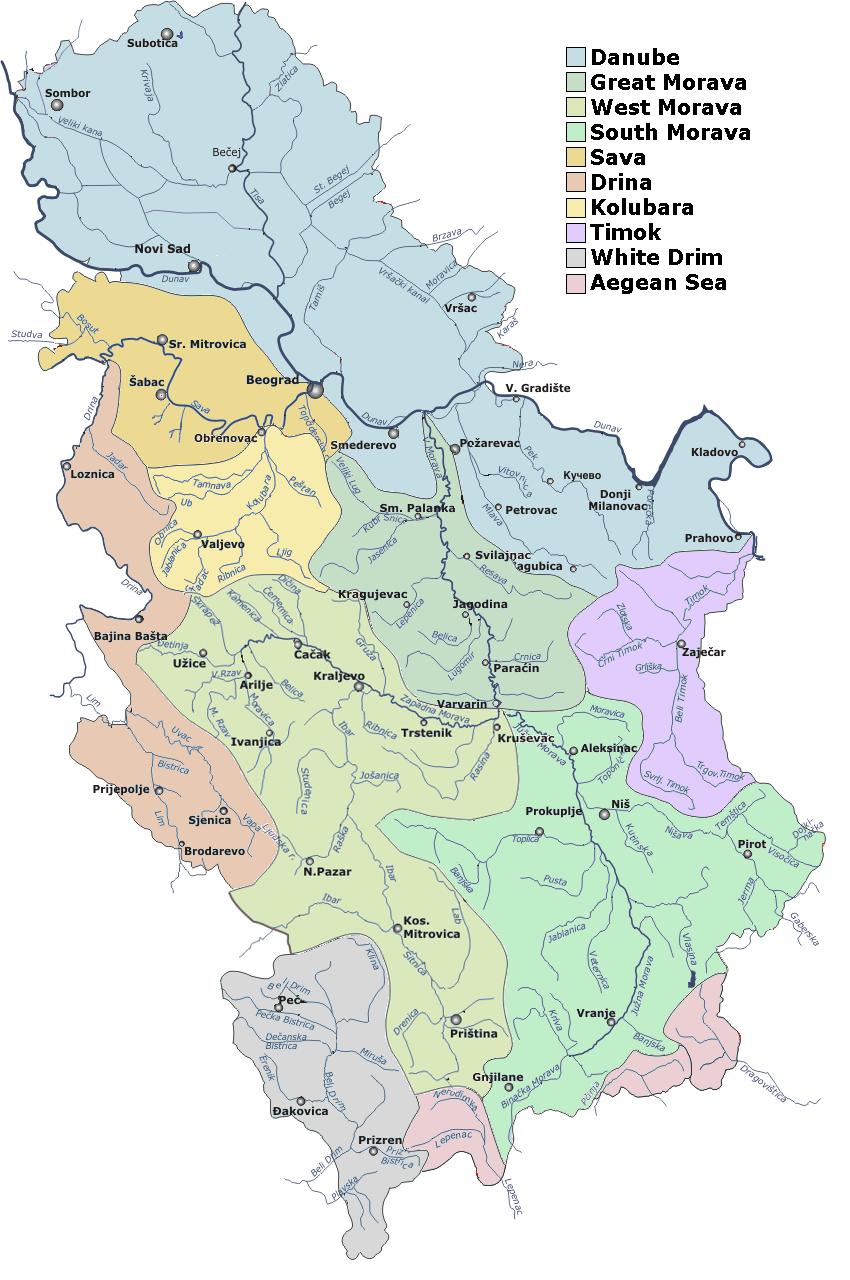 Serbia drainage basins detailed