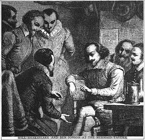 Mermaid Tavern - An illustration depicting Shakespeare and Jonson debating at the tavern
