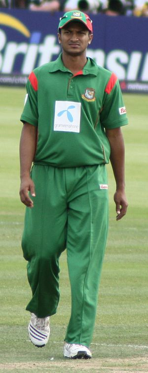 Shakib Al Hasan - Shakib in the field against England during the second ODI, shortly after relinquishing the captaincy