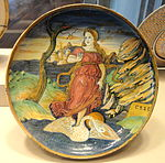 Shallow bowl with the muse Clio riding on a swan, probably the workshop of Maestro Giorgio Andreoli of Gubbio, c. 1535-1540 - National Gallery of Art, Washington - DSC08625.JPG