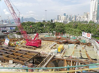 Sha Tin to Central Link - While heavy road traffic on the surface, train tunnel is building underneath at Causeway Bay section
