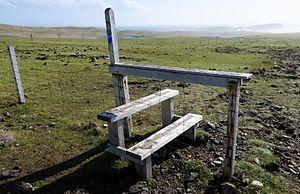 Stile - A wooden stile in Esha Ness, Shetland.