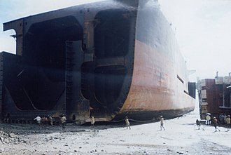 Frame (nautical) - A ship's frames are exposed as it is broken near Chittagong, Bangladesh