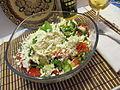 Shopska salad with bulgarian plum rakia.JPG