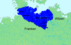 Expansion of the Obotrite confederacy under Prince Thrasco (+ 809) after victory over the Nordalbingian Saxons
