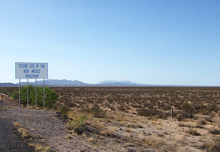 "A sign in Southern New Mexico indicating the ""future site of the New Mexico Spaceport"" Sierra County NM - new mexico space port sign.jpg"