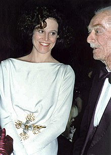 Sigourney Weaver with her father Pat Weaver 1989.jpg