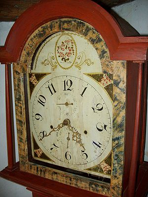 Silas Hoadley clock face, from a grandfather c...