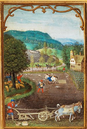 Simon Bening - Calendar page for September or October, watercolour on vellum (14 cm × 95 cm), 1540, Victoria and Albert Museum, London