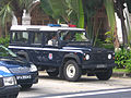 Singapore Police Force Land Rover Defender near Raffles Hotel, Singapore - 20060623.jpg