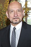 Photo of Ben Kingsley--a bald man with tan skin, of Indian ethnicity, with brown eyes, gray goatee and big nose, around 69 years of age--at the Sundance UK Film Festival in 2012.