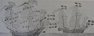 Action of 7 July 1565 - Fighting between the Danish and Swedish flag ships Jegermesther and St Erik, drawn by Rudolf van Deventer.