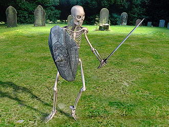 Skeleton (undead) - A CG art skeleton, as commonly found in modern fantasy-theme games
