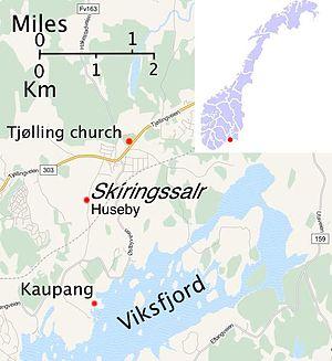 Skiringssal - Image: Skiringssal map