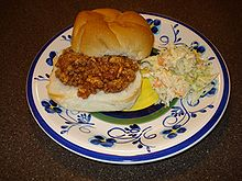 A Sloppy Joe Sandwich With Side Dish Of Coleslaw Traditional Southern Food Dinner