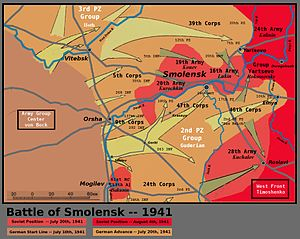 Battle of Smolensk (1941) - Battle of Smolensk Map
