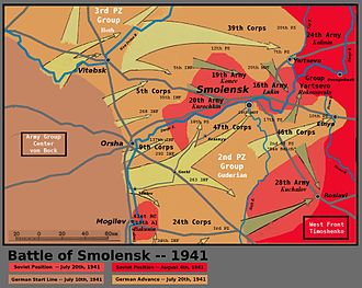 Battle of Smolensk (1941) - German and Soviet movements near Smolensk, 10 July – 4 August