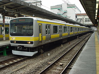 Mitaka Station - A Chūō-Sōbu Line train at Mitaka Station, February 2003