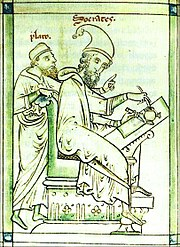 Plato and Socrates in a medieval picture.