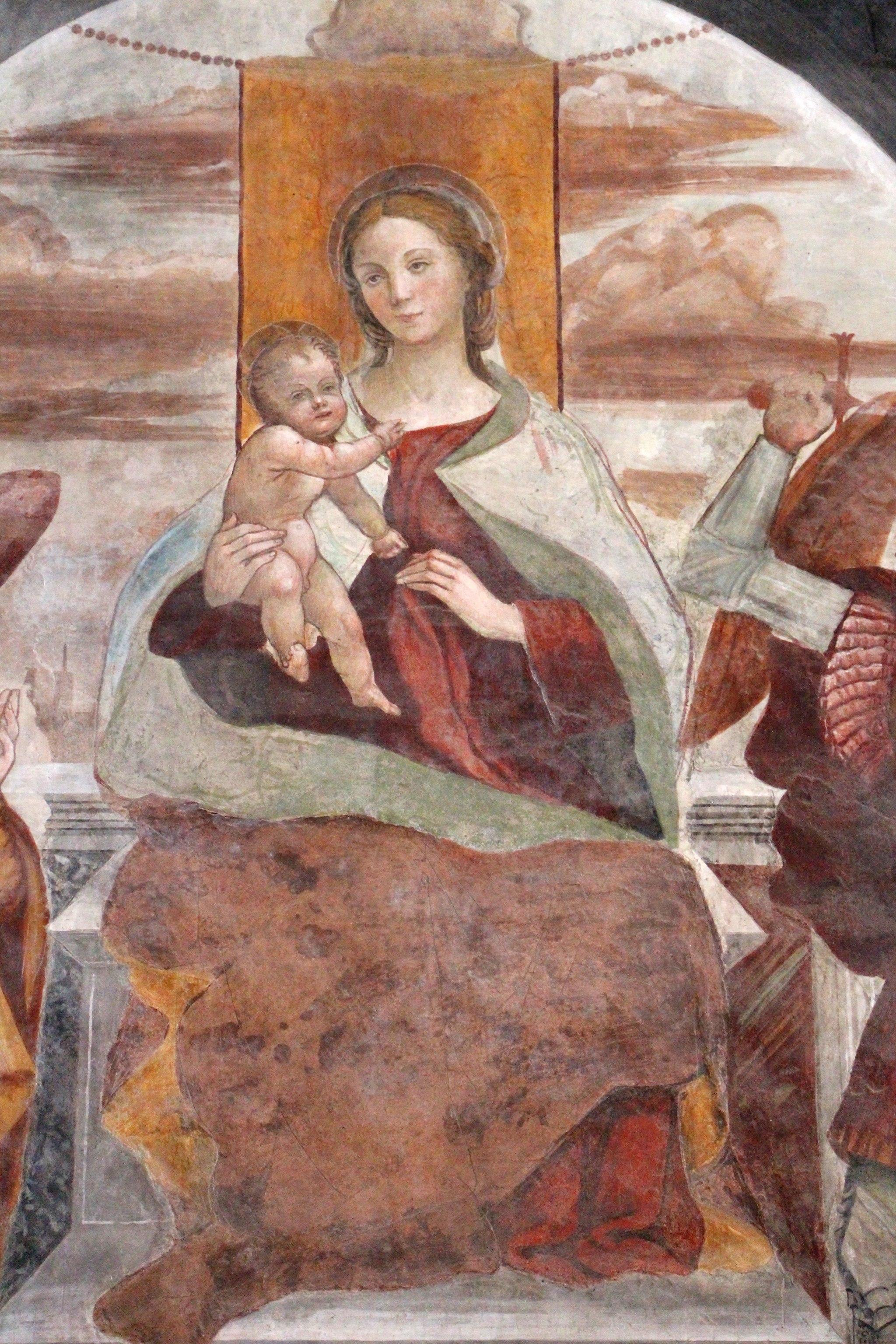 Sodoma, Madonna col Bambino, gli arcangeli michele e Raffaele, e un donatore, 02