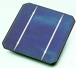 A solar cell, made from a monocrystalline silicon wafer.