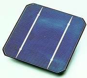 A solar cell, made from a monocrystalline silicon wafer