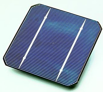 Solar cell - A conventional crystalline silicon solar cell (as of 2005). Electrical contacts made from busbars (the larger silver-colored strips) and fingers (the smaller ones) are printed on the silicon wafer.