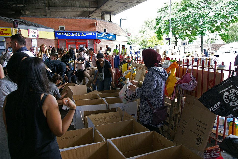 Sorting donations for Grenfell Tower fire victims