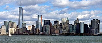 Financial District, Manhattan - The Financial District of Lower Manhattan viewed from New York Harbor, near the Statue of Liberty, October 2013