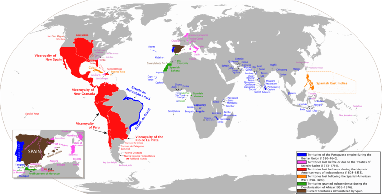 The combined Spanish and Portuguese empires during the Iberian Union (1580-1640) Spanish Empire Anachronous 0.PNG