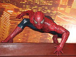 A wax model of Spider-Man at Madame Tussauds in London