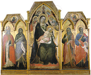 Triptych of Madonna enthroned with child and saints