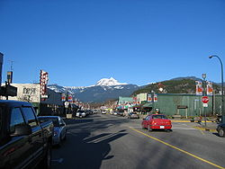Cleveland Avenue in Squamish with Mount Garibaldi looming in the background