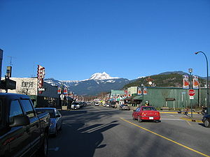 Squamish, British Columbia - Cleveland Avenue in Squamish with Mount Garibaldi looming in the background