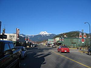 Squamish, British Columbia - Cleveland Avenue in Squamish with Mount Garibaldi looming in the background